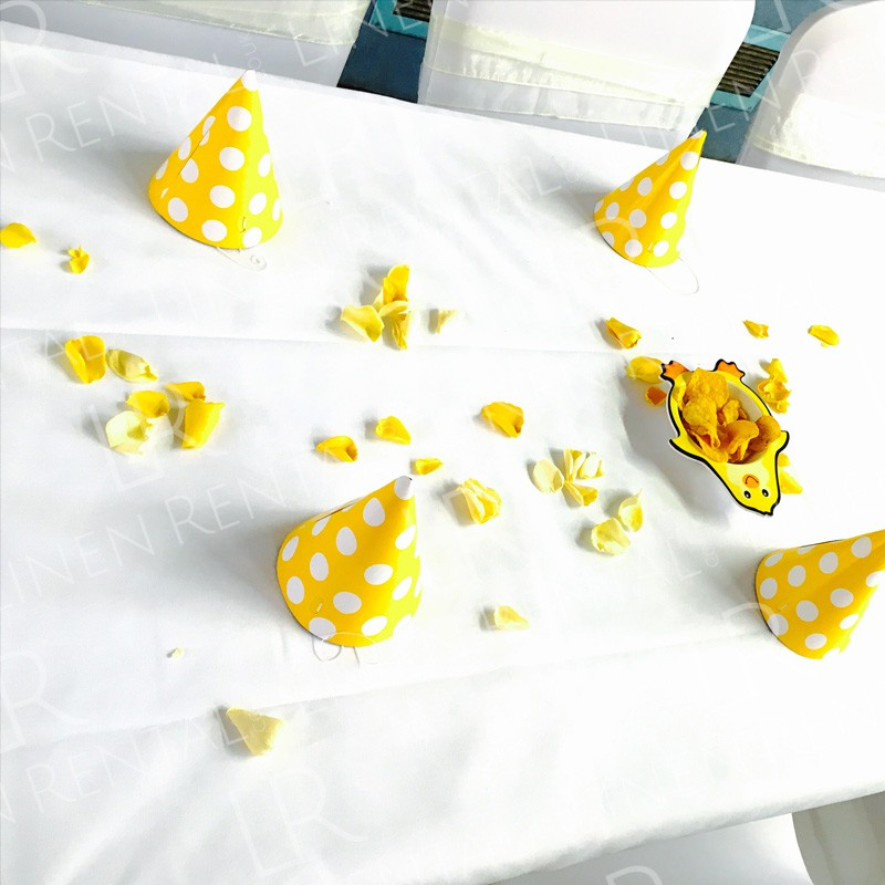 Birthday Party - Fresh and crisp white table linen for all occasions!