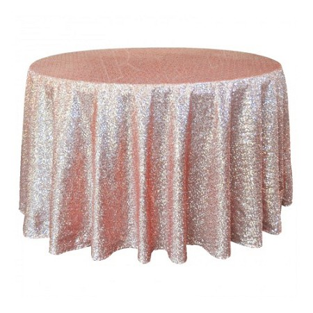 Tablecloth Hire Rose Gold Sequin 5ft Round Linen