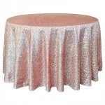 120 Inch Round Rose Gold Sequin Tablecloth
