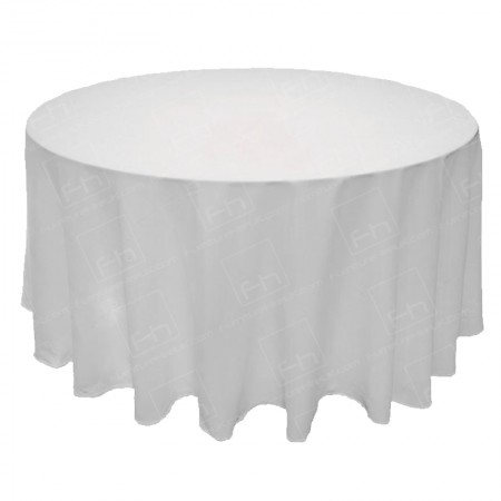 130 Inch Round White Tablecloth