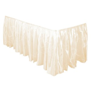 Ivory Satin Table Skirt - 17ft