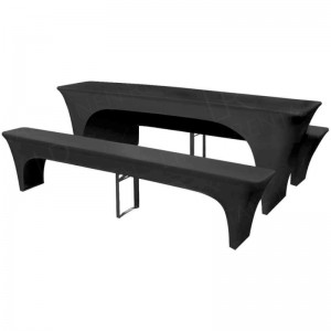 2200mm Lycra Beer Table & Bench Cover Set - Black