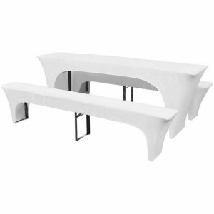 2200mm Lycra Beer Table & Bench Cover Set - White