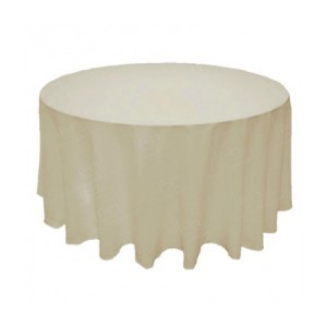 88 Inch Round Ivory Tablecloth
