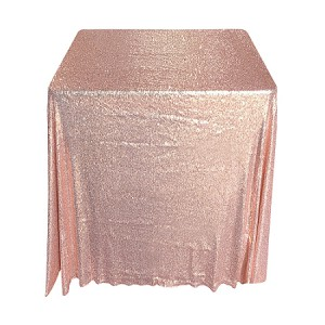 90 x 90 Inch Square Rose Gold Sequin Tablecloth
