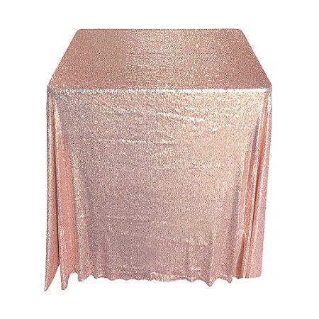 90 Inch Square Rose Gold Sequin Tablecloth