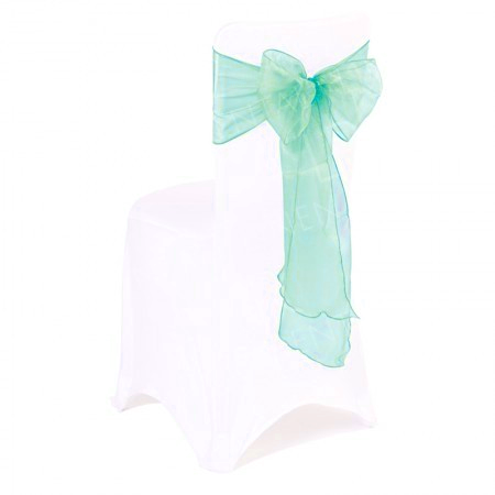 Aqua Organza Chair Bow