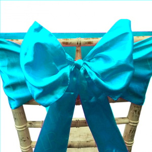 Aqua Satin Chair Bow