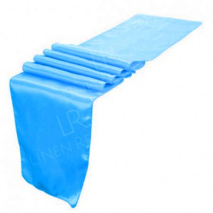 Aqua Satin Table Runner