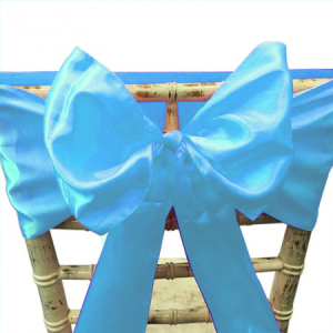 Baby Blue Satin Chair Bow