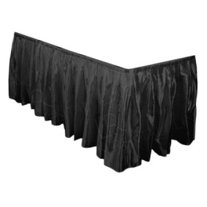 Black Satin Table Skirt - 17ft