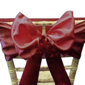 Burgundy Satin Chair Bow