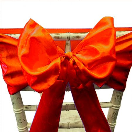 Burnt Orange Satin Chair Bow