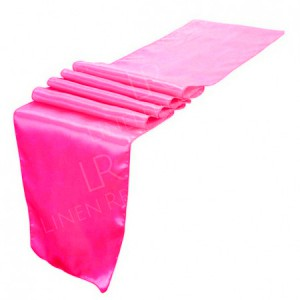 Cerise Pink Satin Table Runner