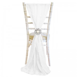 Chiffon Vertical Chair Sash - White