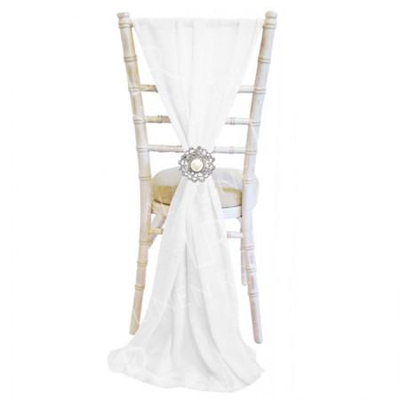 Chiffon Vertical Chair Sash - White