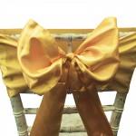 Dark Gold Satin Chair Bow
