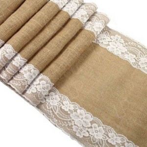 Hessian Table Runner with Lace Edging