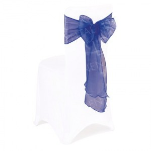 Navy Blue Organza Chair Bow