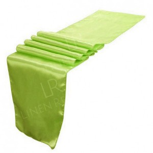 Olive Green Satin Table Runner