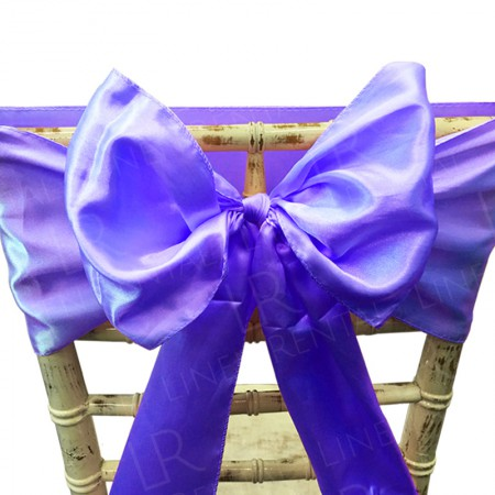 Purple Satin Chair Bow