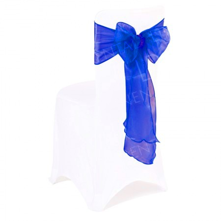 Royal Blue Organza Chair Bow