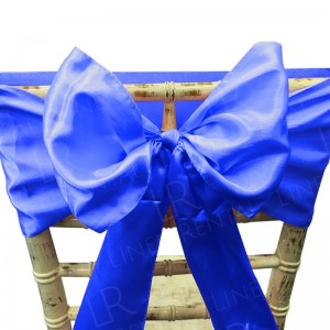 Royal Blue Satin Chair Bow