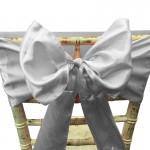 Silver Satin Chair Bow