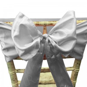 Silver Satin Chair Bow