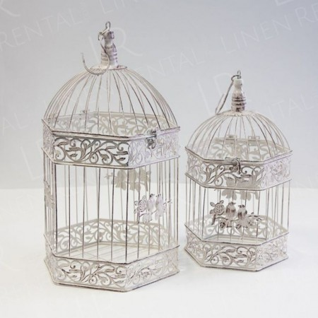 Vintage Hexagon Bird Cages Set of 2